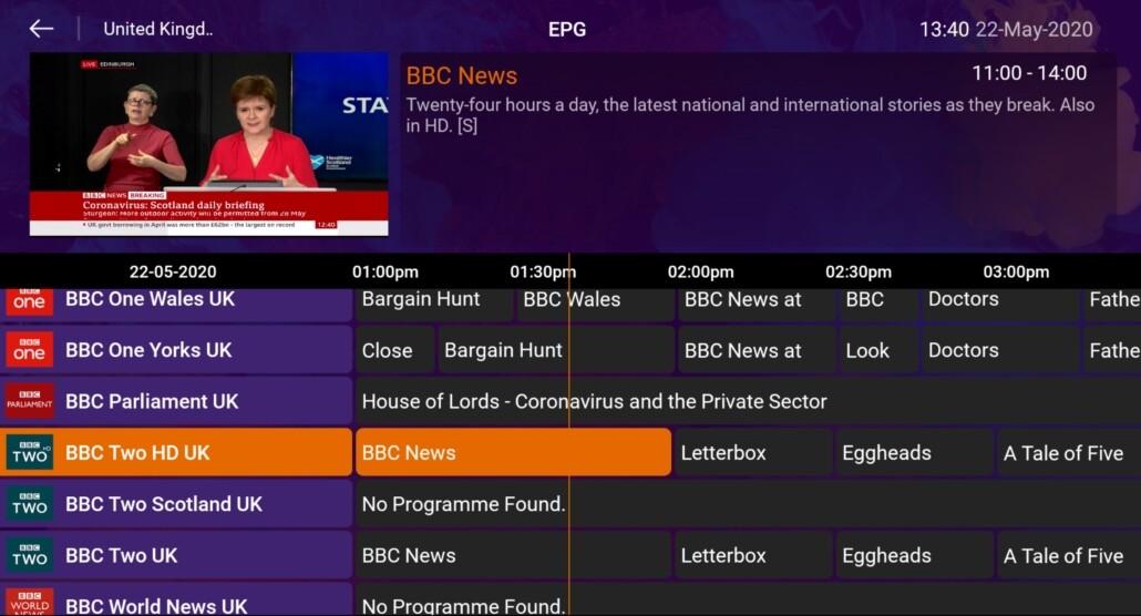 EPG mode of channels list